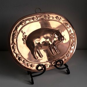 Farmhouse Copper Pig Oval Wall Hanging